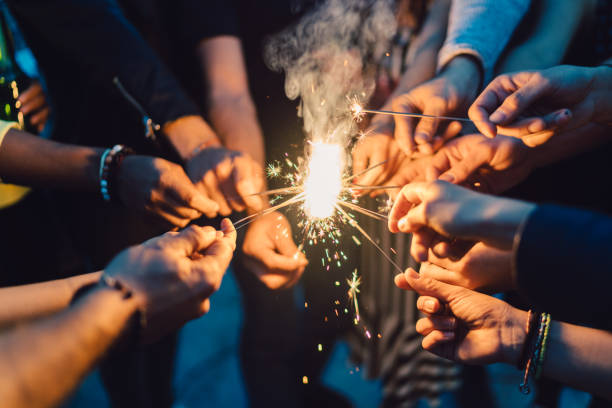 fireworks - sparkler stock pictures, royalty-free photos & images