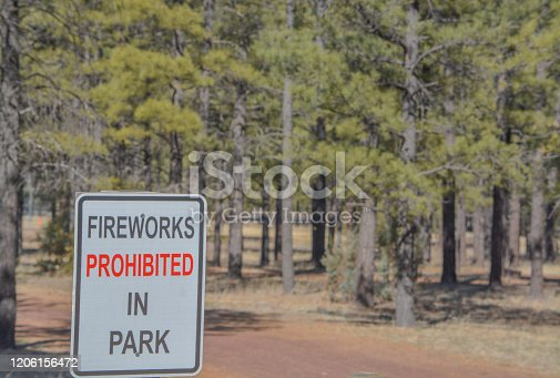 Fireworks Prohibited In Park Sign at Tall Timbers County Park, Overgaard, Sitgreaves National Park, Arizona USA