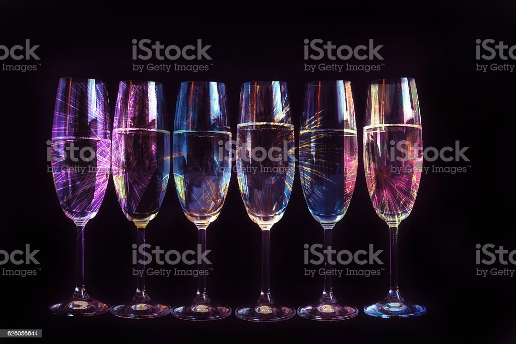 Fireworks reflected in the glasses stock photo