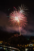 BOUILLON, BELGIUM - AUGUST 13, 2016: Fireworks show above the castle of Bouillon in Belgian Ardennes