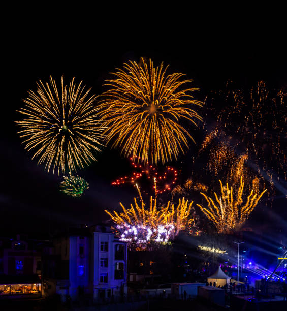 Fireworks show for the Plovdiv 2019 - European Capital of Colture stock photo
