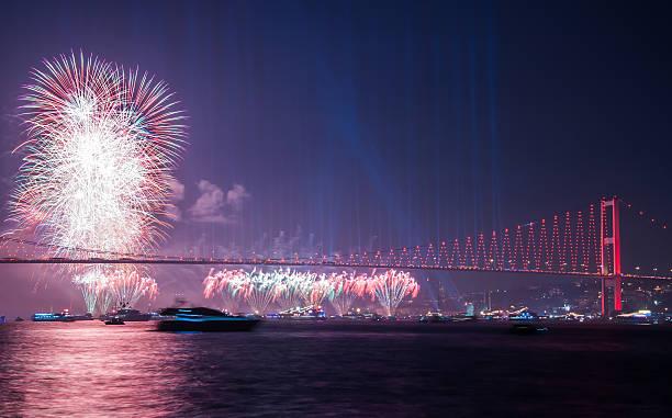Fireworks show in Istanbul Bosphorus stok fotoğrafı