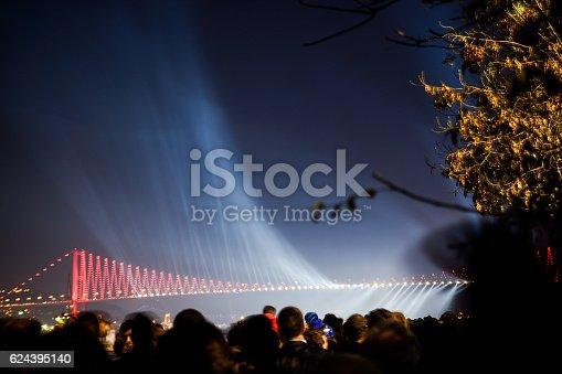 istock Fireworks show  over the Bosporus Bridge 624395140