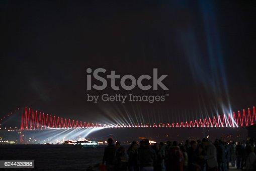 istock Fireworks show  over the Bosporus Bridge 624433388