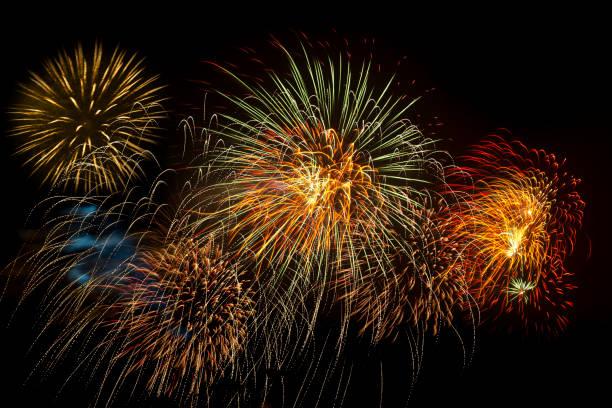 fireworks stock image in black background - happy 4th of july zdjęcia i obrazy z banku zdjęć
