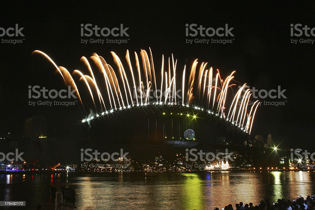 Fireworks - Sydney Harbour Bridge royalty-free stock photo