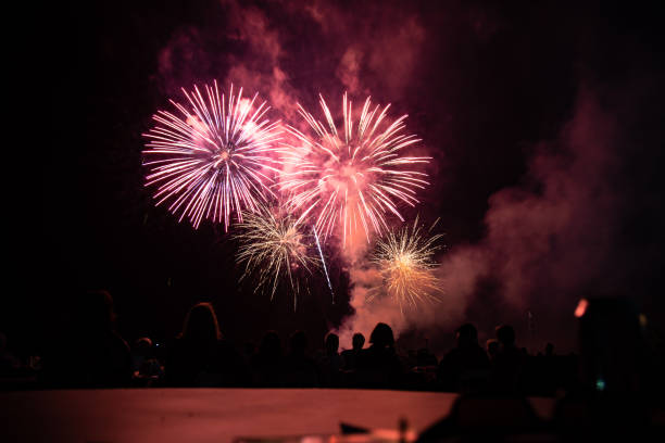 Fireworks to end the night Abbotsford Airshow 2018 - Twilight Show. Closing the show with some fireworks pyrotechnic effects stock pictures, royalty-free photos & images