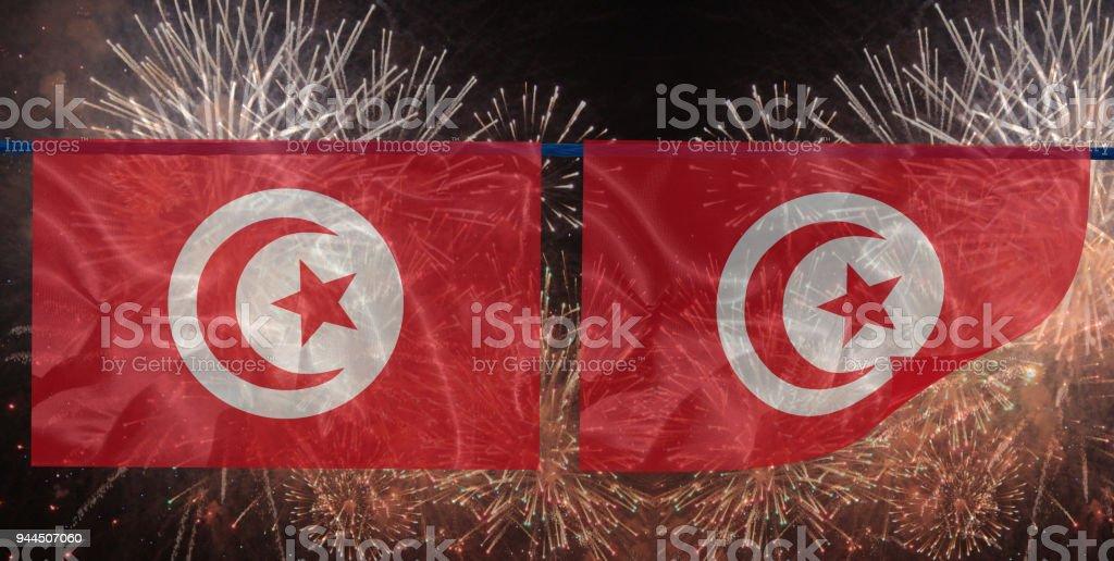 Fireworks Tunisian flag stock photo