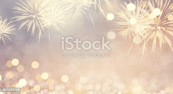 istock Fireworks vintage and bokeh in New Year eve and space for text. Abstract background holiday. 901083258