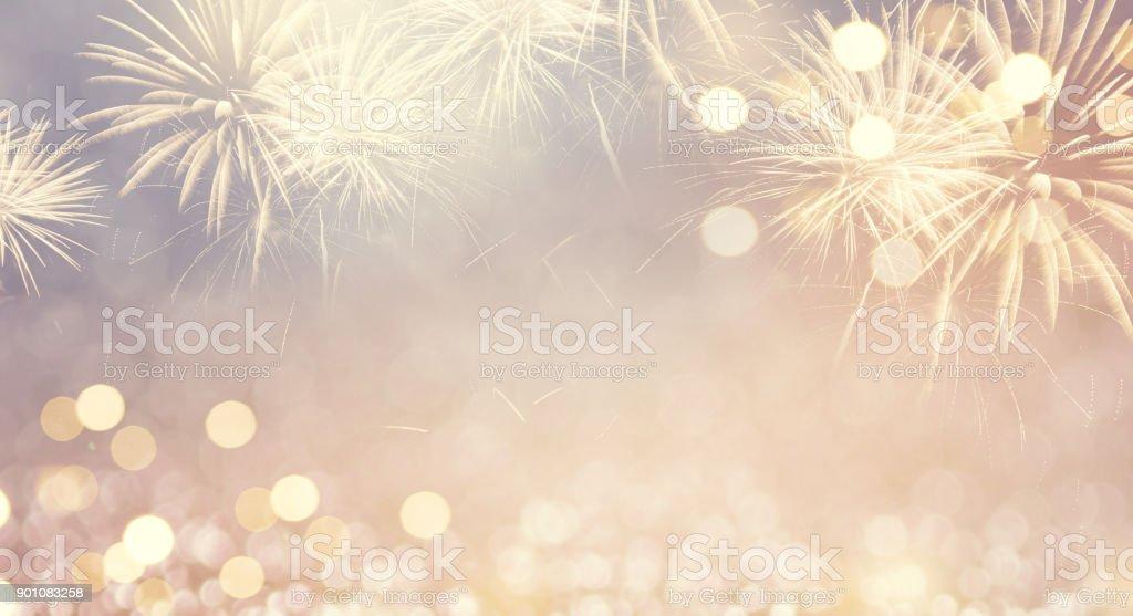 Feuerwerk-Vintage und Bokeh im Silvester und Platz für Text. Zusammenfassung Hintergrund Urlaub. – Foto