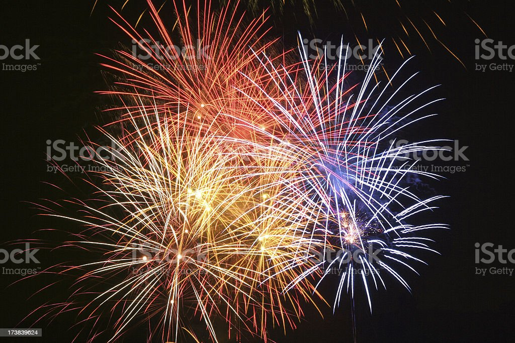 Fireworks with blue royalty-free stock photo