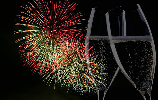 fireworks  with champagne stock photo