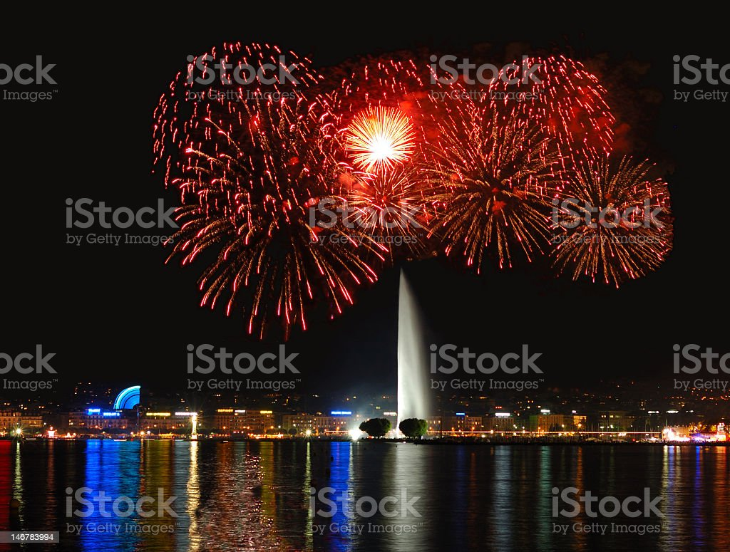 Fireworks with Geneva Fountain stock photo