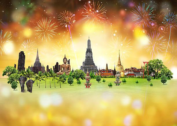 Feuerwerk Festival-Konzept mit Thailand – Foto