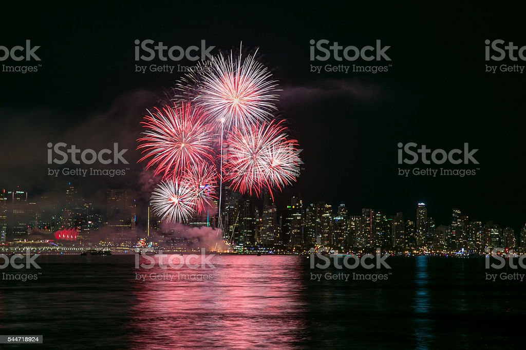 Fireworks with Vancouver City Centre in the background stock photo