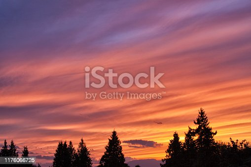 Beautiful sunset in Summer, long exposure.