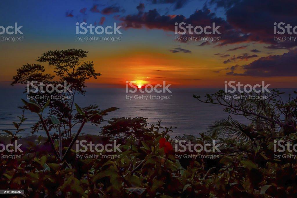 Firey sunset in Costa Rica stock photo