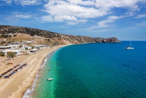 Firiplaka beach, Milos Island, Cyclades, Greece. Aerial view stock photo