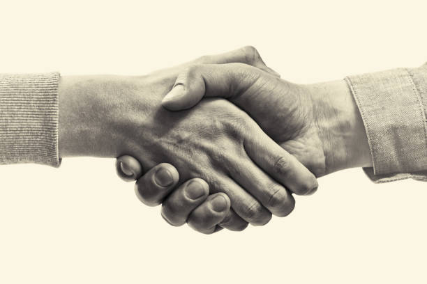 A firm handshake between two partners. stock photo