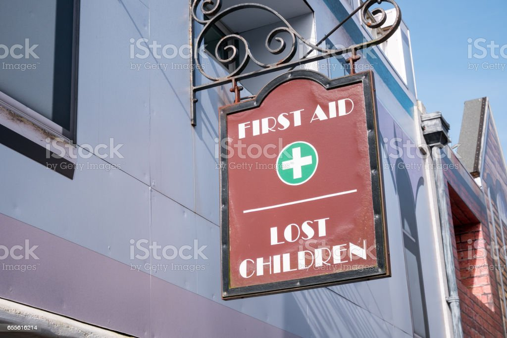 First aid and lost children office stock photo