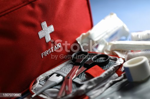 First aid articles closeup