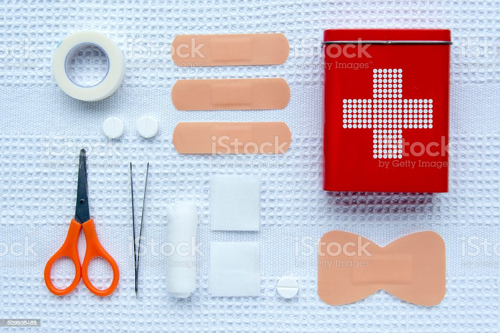 First aid articles stock photo