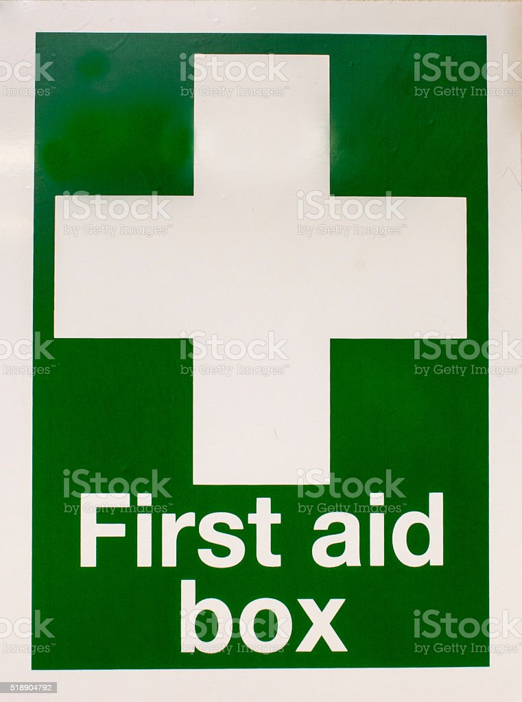 first aid box sign stock photo
