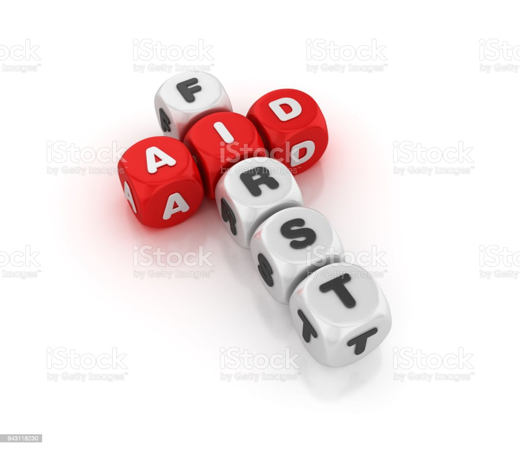 First Aid Concept Crossword - 3D Rendering stock photo