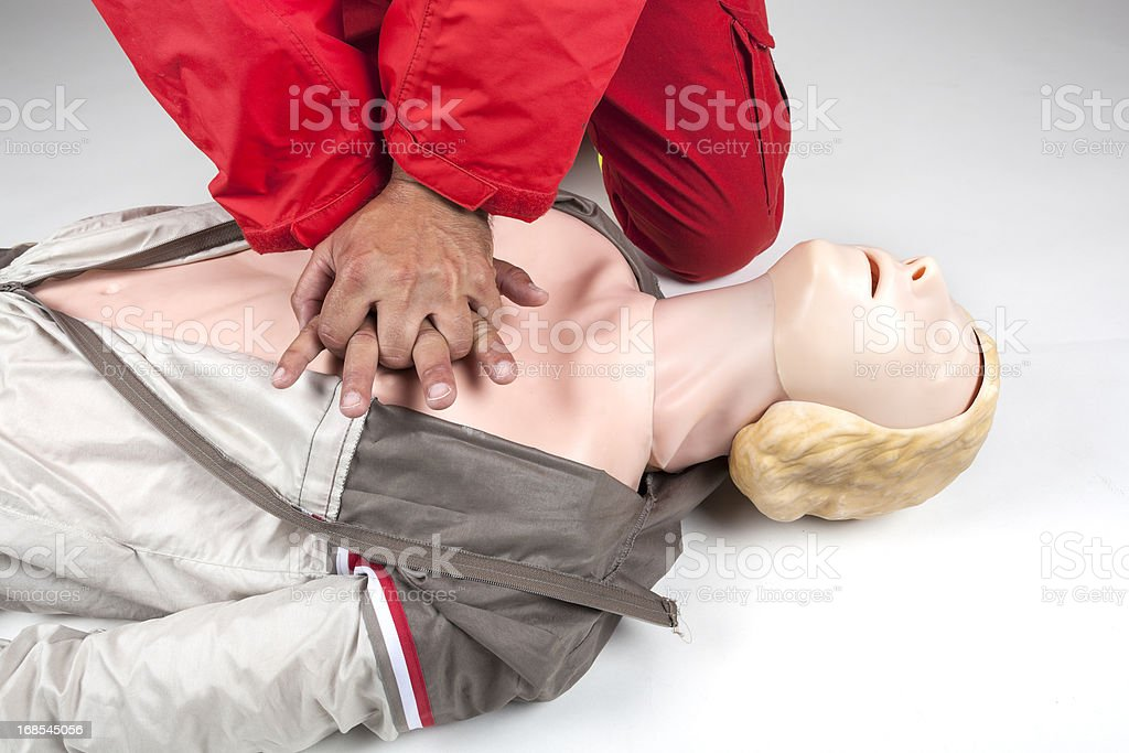 First aid - CPR practice, chest compressions