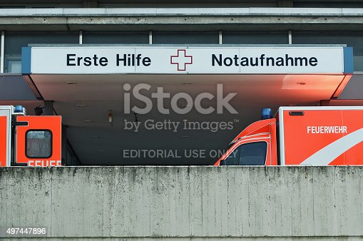 istock First Aid, emergency department with two ambulance cars in Berlin 497447896