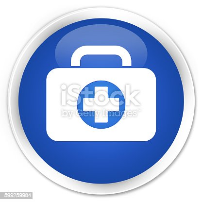 istock First aid kit bag icon blue glossy round button 599259984