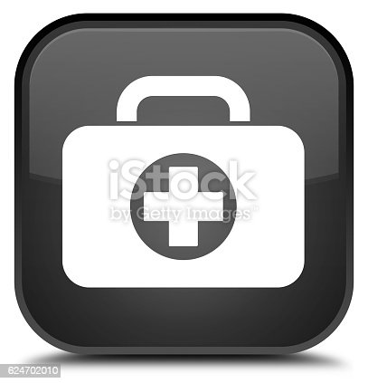 istock First aid kit bag icon special black square button 624702010