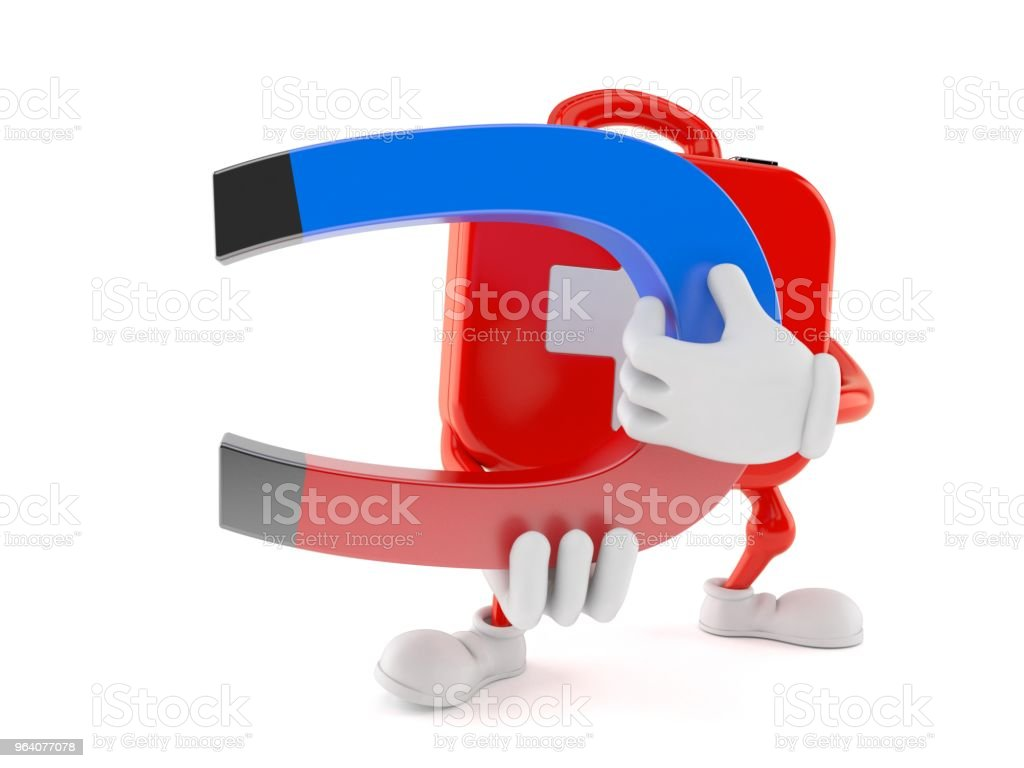 First aid kit character holding horseshoe magnet - Royalty-free A Helping Hand Stock Photo