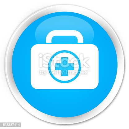istock First aid kit icon cyan blue glossy round button 613337414