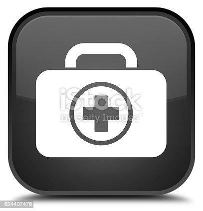 istock First aid kit icon special black square button 624407478