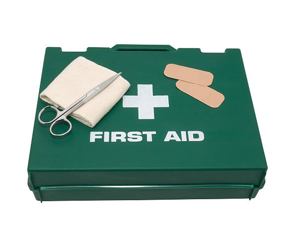 First aid kit isolated on background stock photo