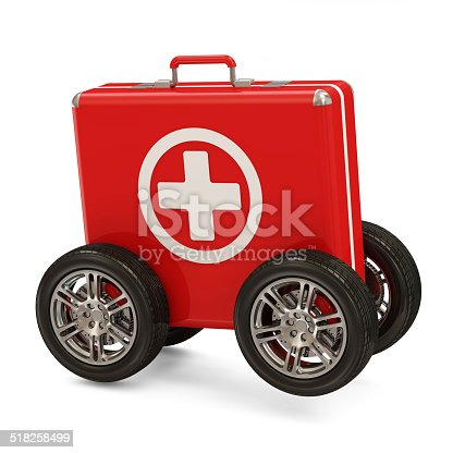 istock First Aid Kit on Wheels isolated on white background 518258499
