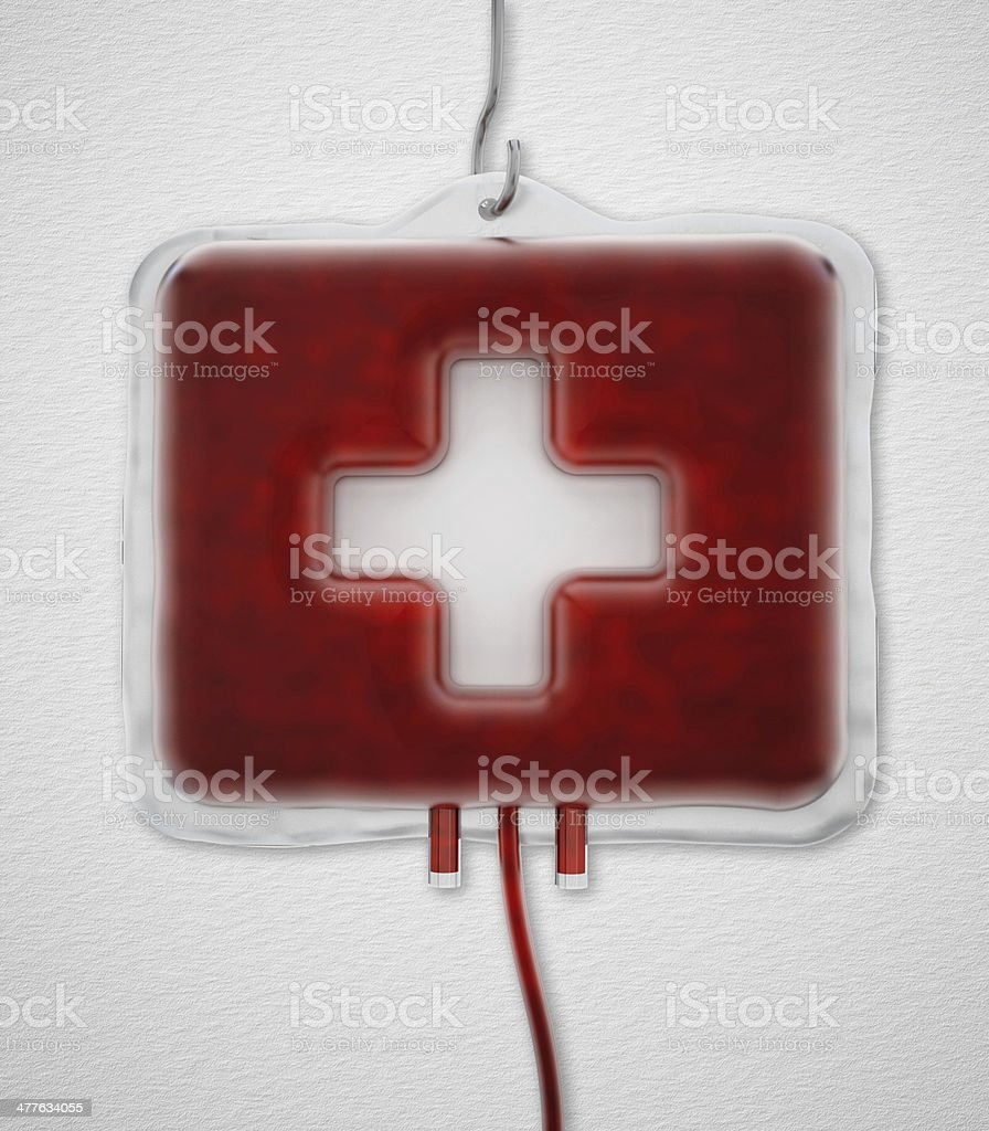 First aid kit shaped blood bag stock photo