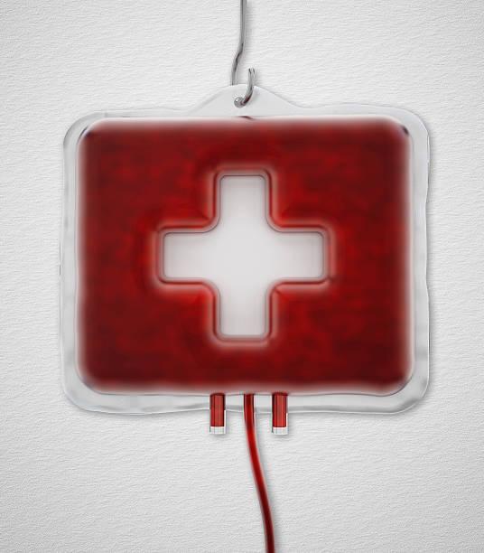 kit di primo soccorso a forma di sacca di sangue - foto stock
