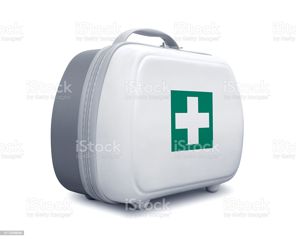 First aid kit with green cross logo stock photo