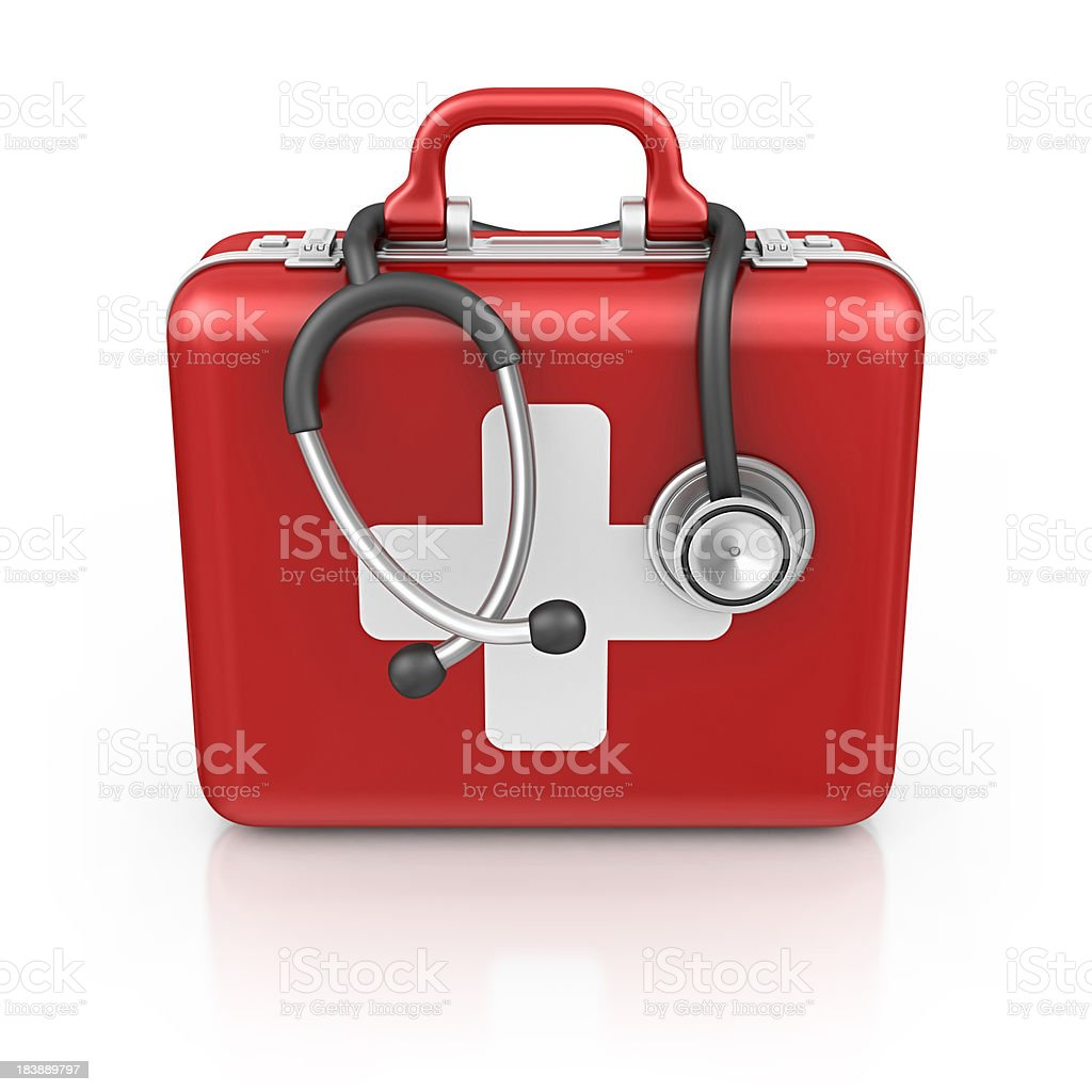 first aid kit with stethoscope royalty-free stock photo