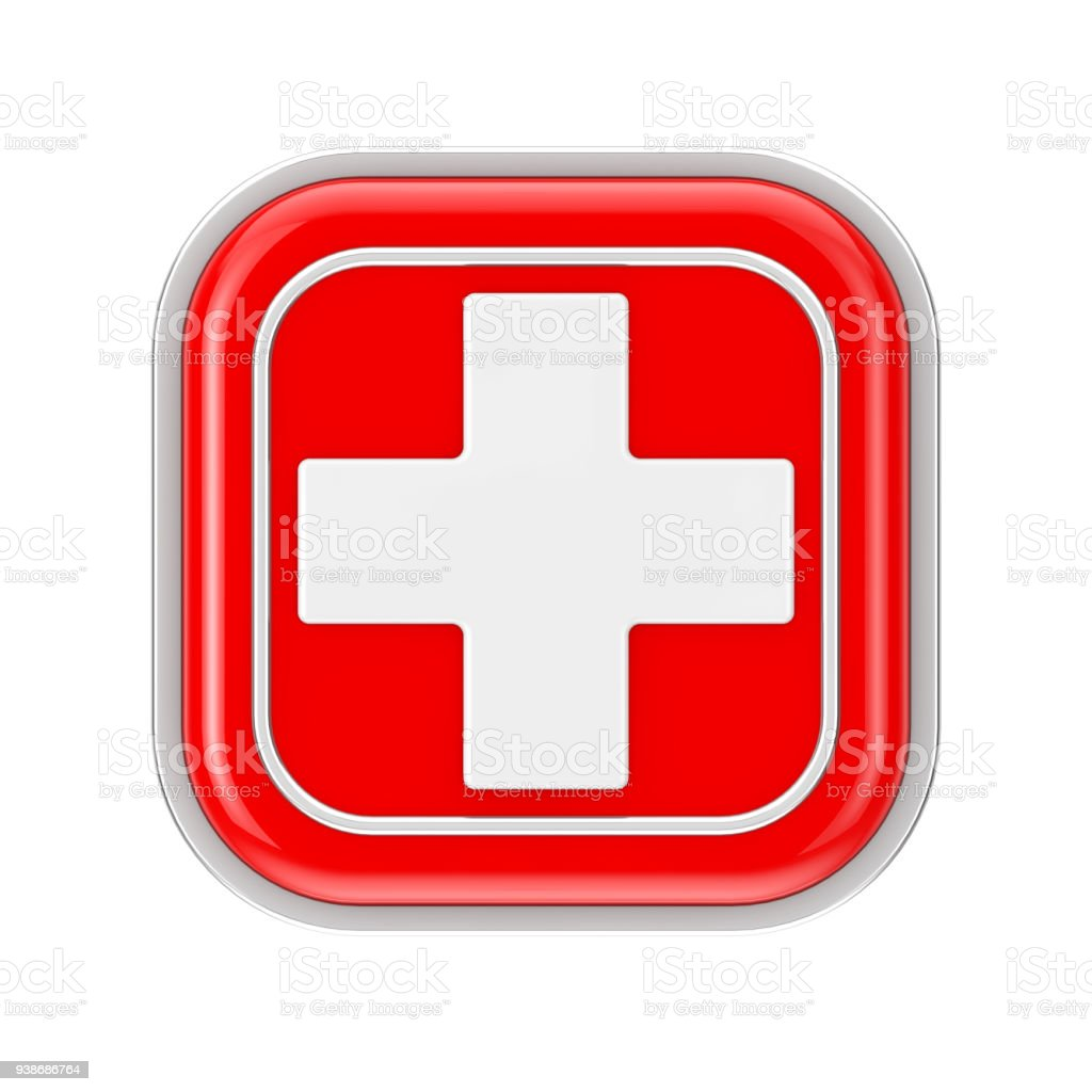 First Aid Medical Button Icon. 3d Rendering stock photo
