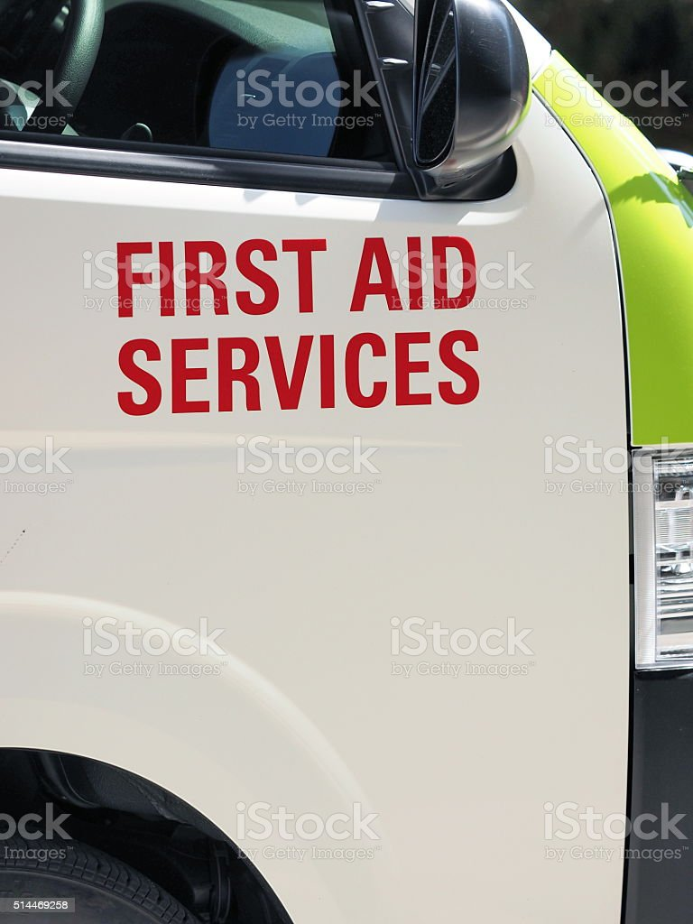 First Aid services printing on an ambulance stock photo