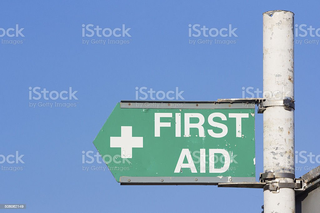 First Aid Sign in Margate, England royalty-free stock photo