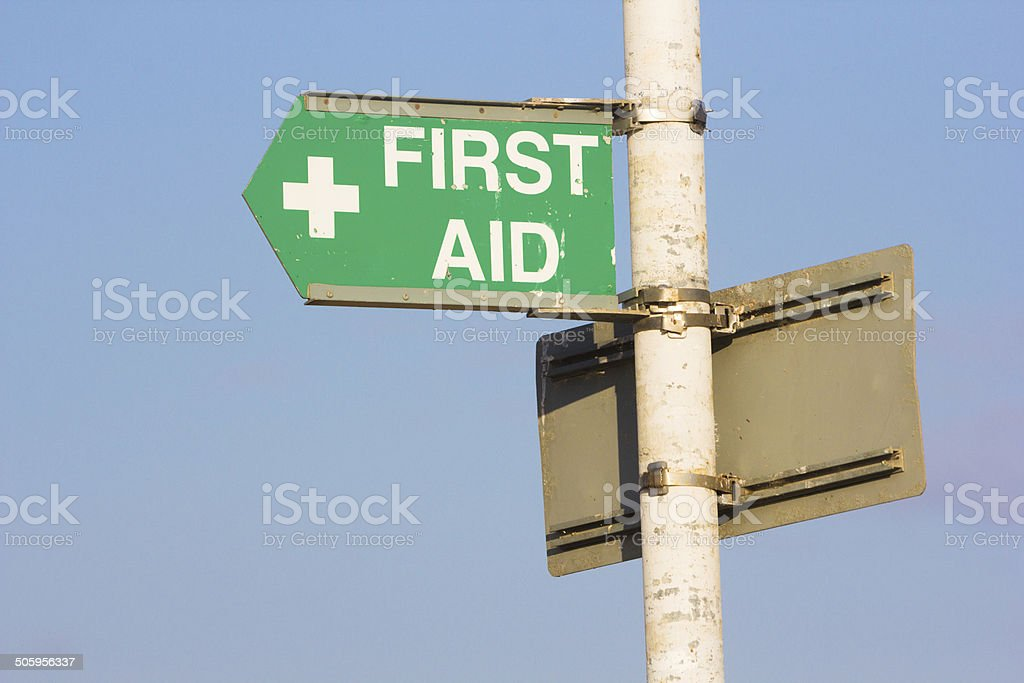 First Aid Sign on Margate Beach, England royalty-free stock photo