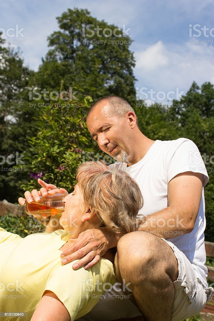 First aid to a retiree stock photo