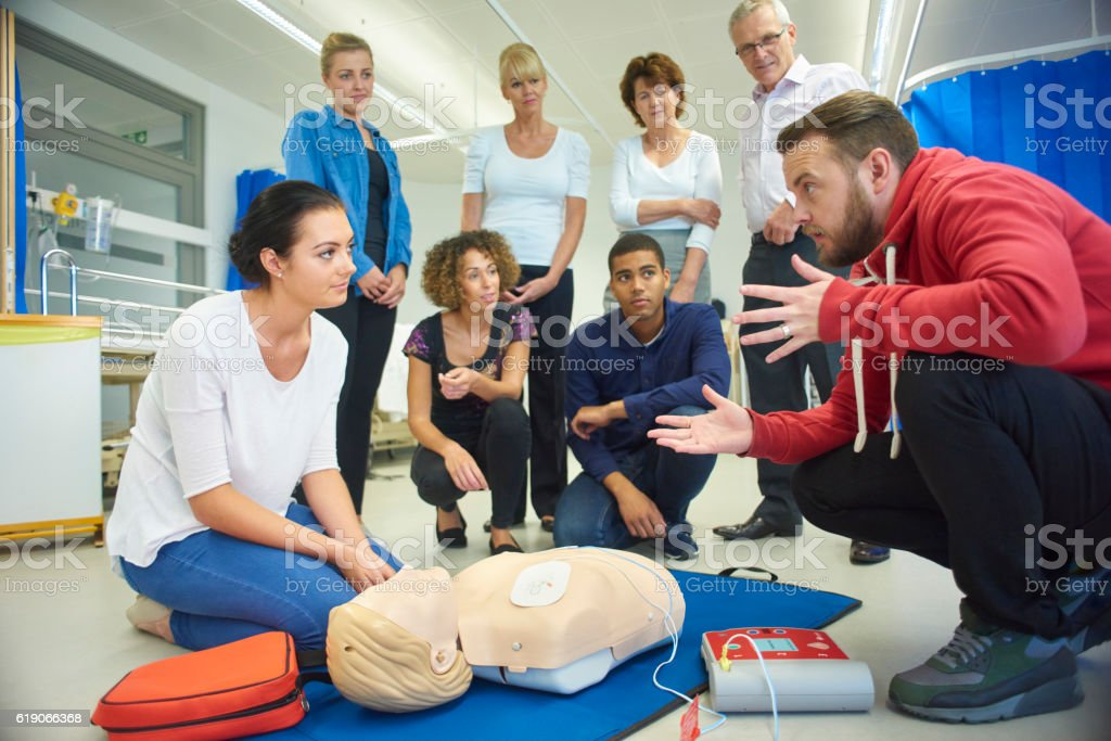first aid training class stock photo