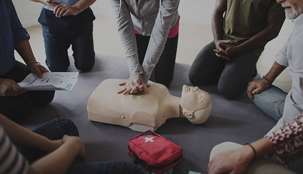 Demonstration of a CPR class, exclusively the Hands-only CPR portion.