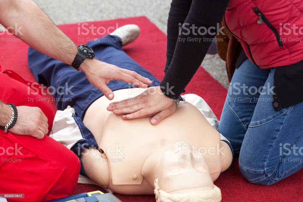 First aid training. CPR. stock photo