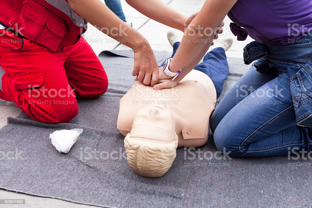 First aid training stock photo